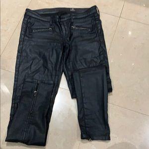 AG Coated black moto pants size 26